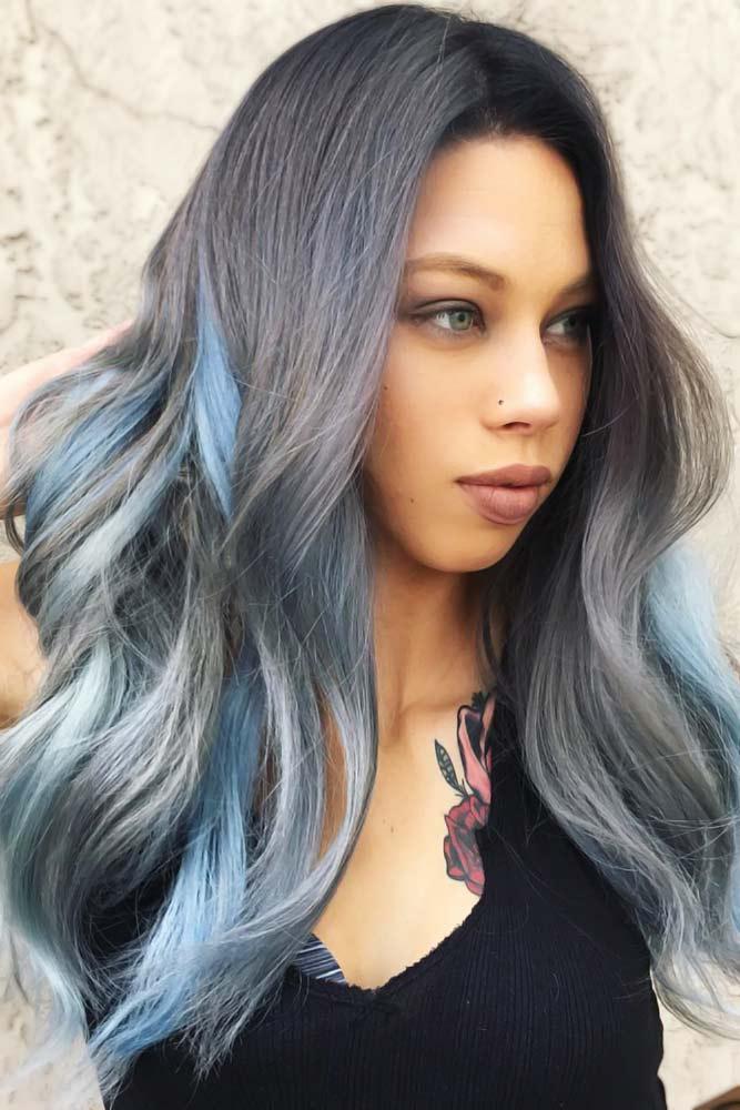 Grey With Sky Blue #peekaboohair #bluehair