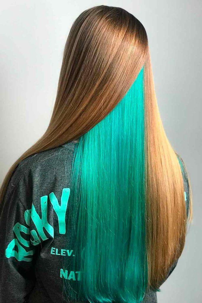 Long straight hair with hidden green peekaboo