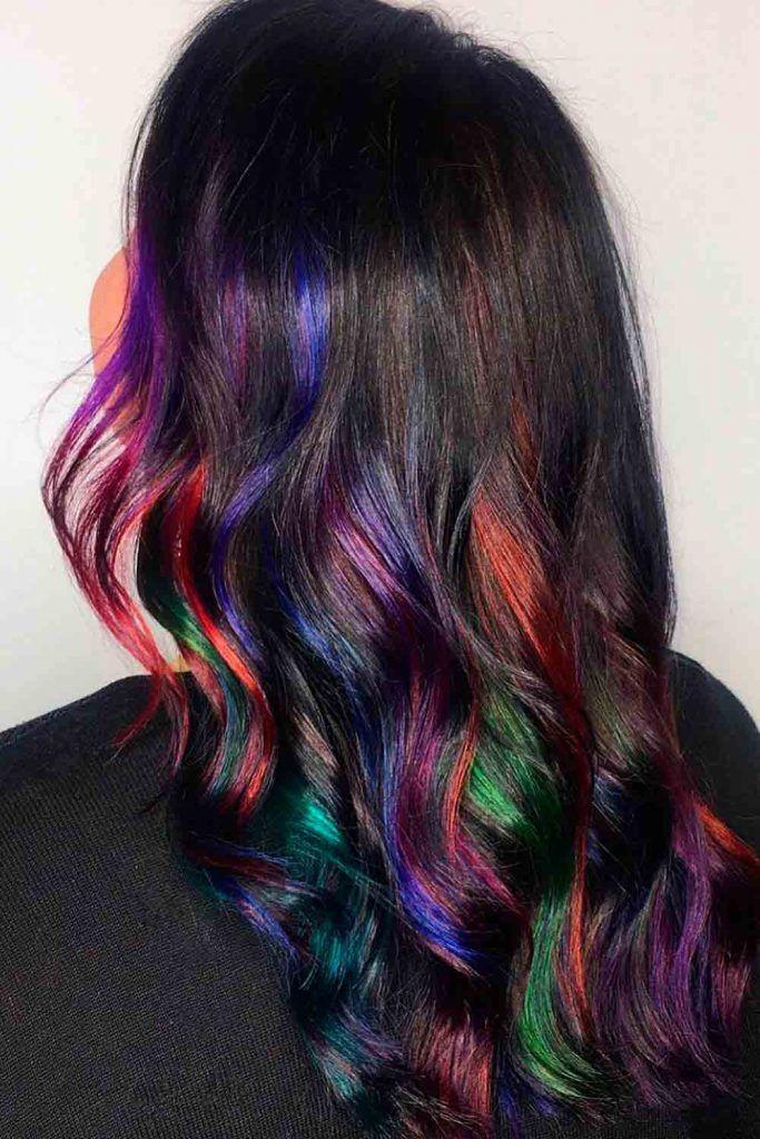 Dark long wavy hair with peekaboo note