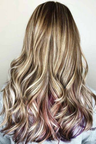 Highlights, Lowlights, And Purple Peekaboos #peekaboohair #highlights