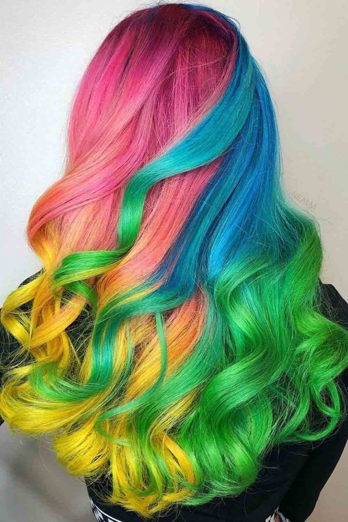 Shiny hairstyle full of different color