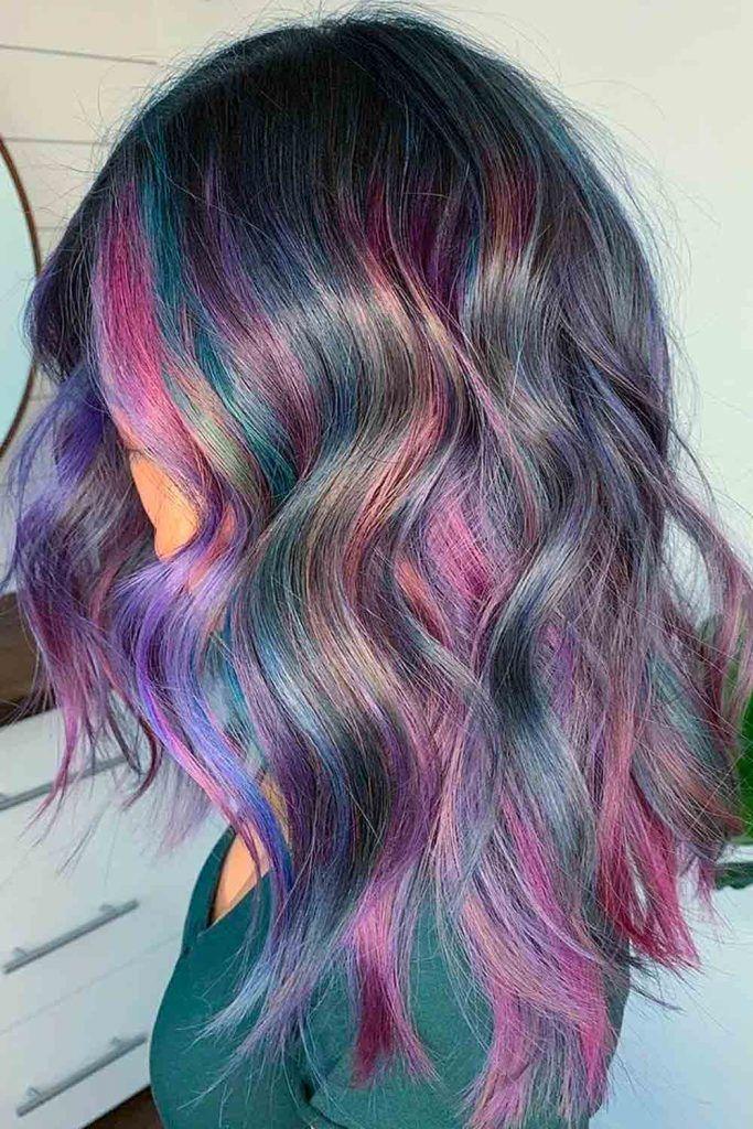 Cool rainbow wavy hairstyle