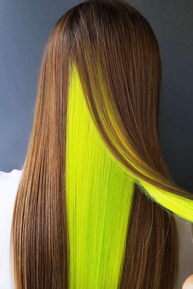 Neon Peekaboo For Dark Brown #peekaboohair #brunette