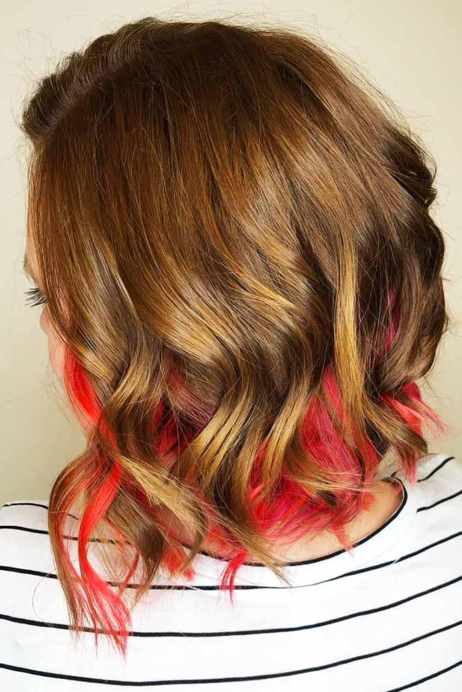 Hidden Neon Peach Sunset #peekaboohair #brunette #redhair