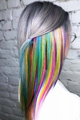 Peekaboo Rainbow With Grey #peekaboohair #rainbowhair