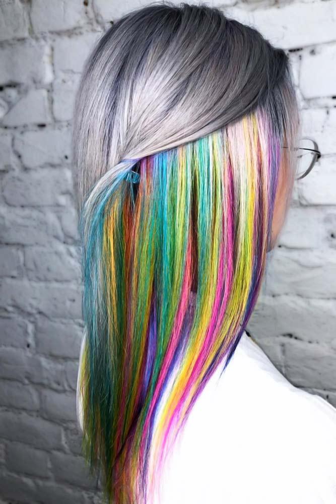 Peekaboo Rainbow With Grey #peekaboohair #rainbowhair