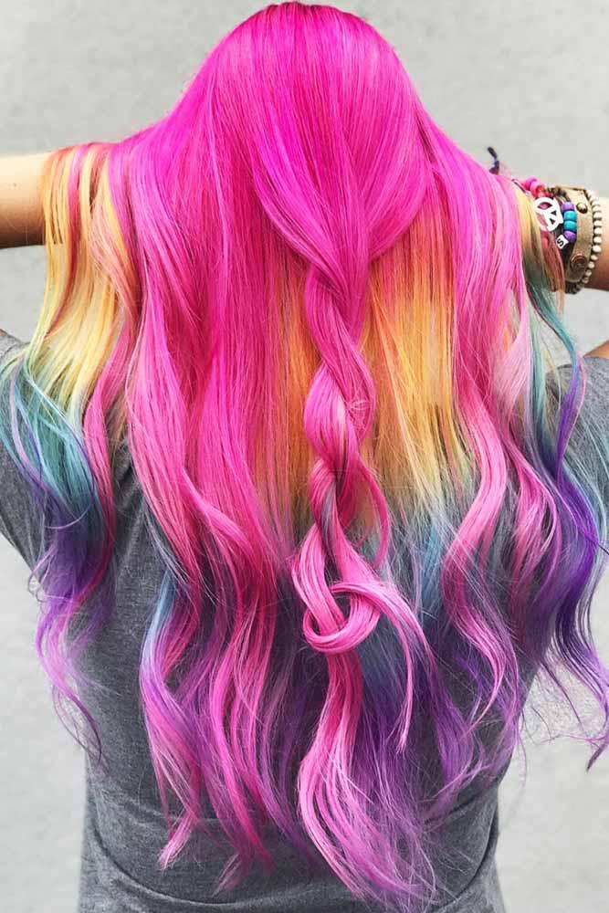 Rainbow Under Neon Pink #peekaboohair #rainbowhair