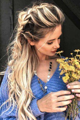 French Braid Crown Style #braids #hippiehairstyles