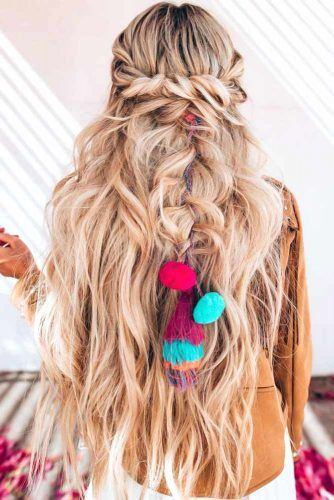 Twisted Half-Up Into Braid #braids #halfup #hippiehairstyles