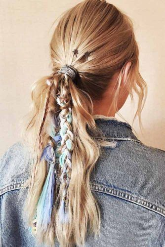 Low Pony With Colorful Braids #updo #ponytail #hippiehairstyles