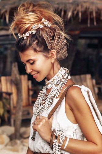 Updo Bun With Shells #updo #hippiehairstyles