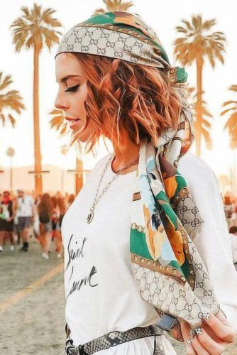 Wavy Bob With Bandana #hippiehairstyles