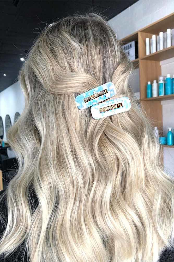Long Wavy Blonde Hair With Hair Clips