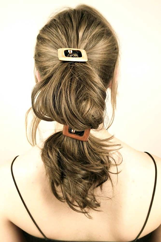 Hair Clips With Long Wavy Ponytail
