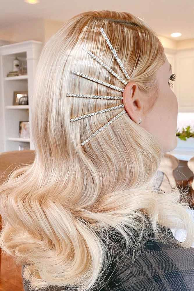 Long Blonde Hair With Side Hair Clips