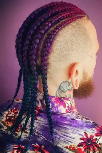 Undercut + Purple Cornrows #braidsformen #mensbraids
