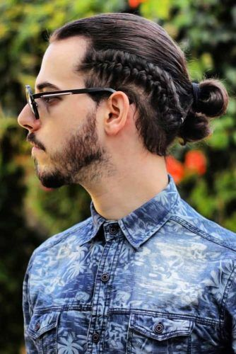 Side French Braid Into Knot #braidsformen #mensbraids