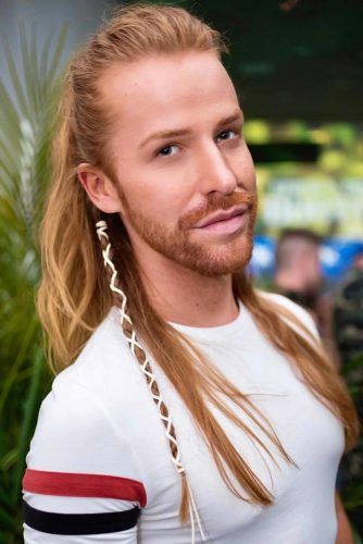Side Braid Half-Up #braidsformen #mensbraids