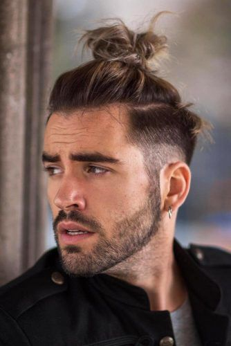 Faded & Messy Top Knot #samuraihair #menhairstyles