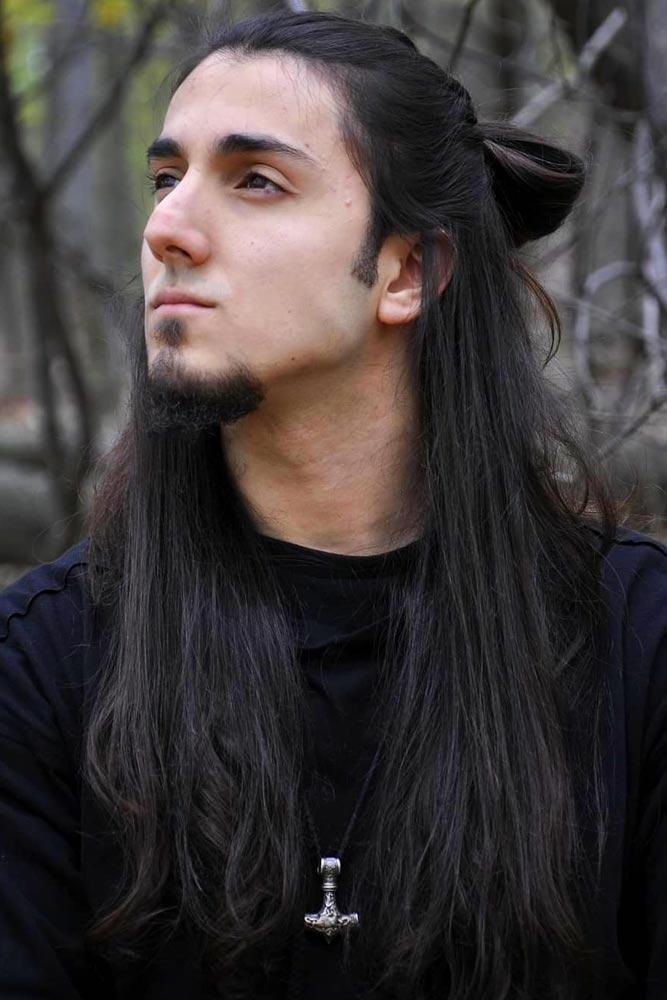 Samurai Half Bun With Long Hair #samuraihair #menhairstyles