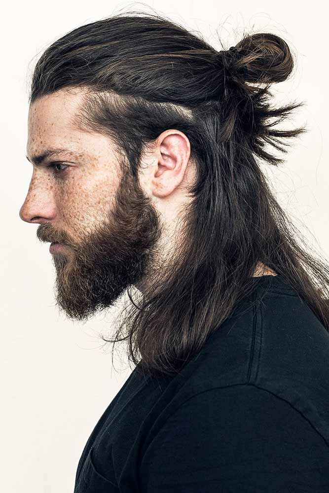 Shoulder Length Samurai Style #samuraihair #menhairstyles