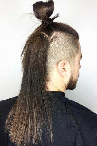 Half Bun With Long Undercut #samuraihair #menhairstyles