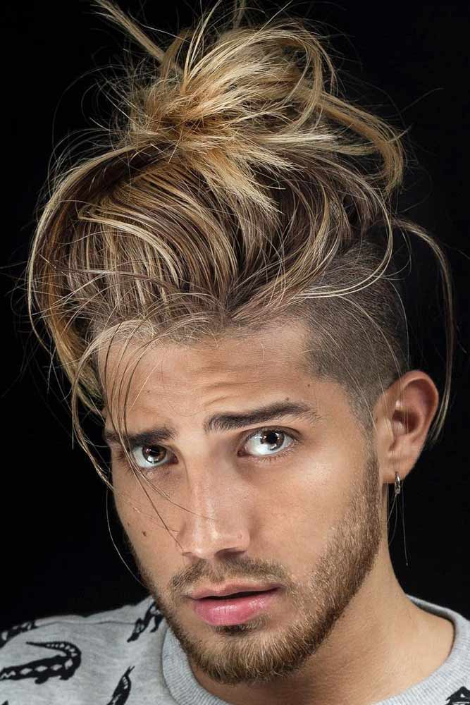Messy Bun With Disconnected Undercut #samuraihair #menhairstyles