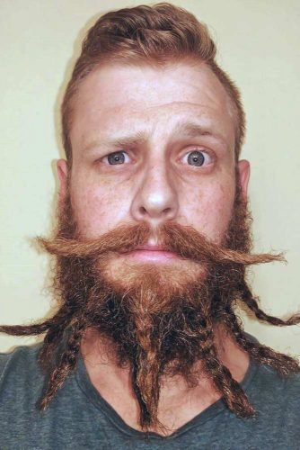 Braided Beard With Dali Style Mustache #beard #braids #braidedbeard