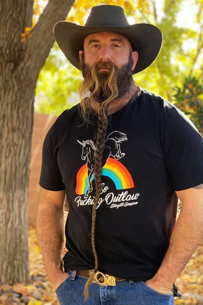 Long Braided Beard With Long Mustache #beard #braids #braidedbeard