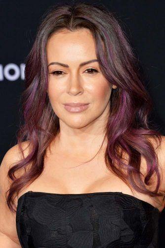 Alyssa Milano Purple #hairtransformation #celebrityhairtransformation