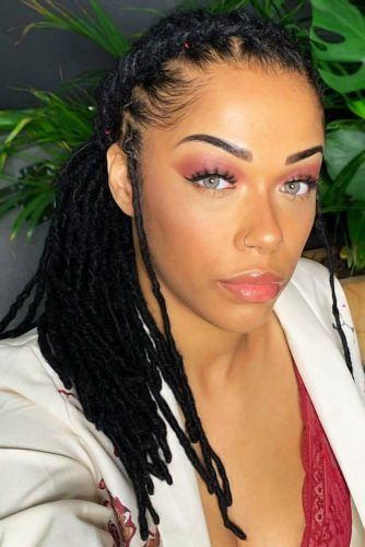Crown Braid Into Side Low Pony #sisterlocks #braids