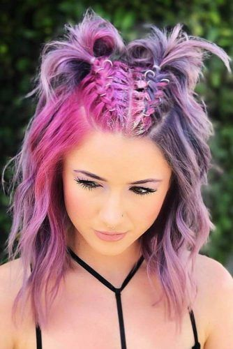 Cotton Candy Pastels Half And Half Hair #halfandhalfhair #splithair