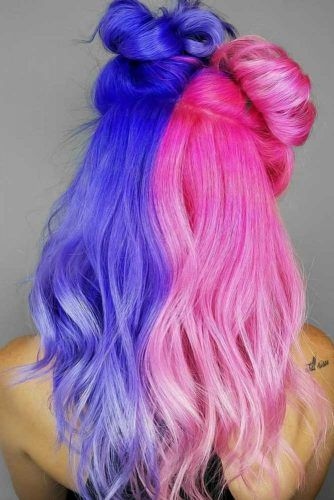 Ink Blue With Pink #halfandhalfhair #splithair