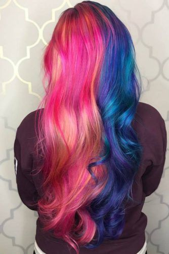 Pink & Blue Tones #halfandhalfhair #splithair