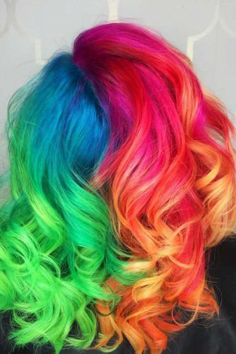 Prismatic Rainbow Half And Half Hair #halfandhalfhair #splithair