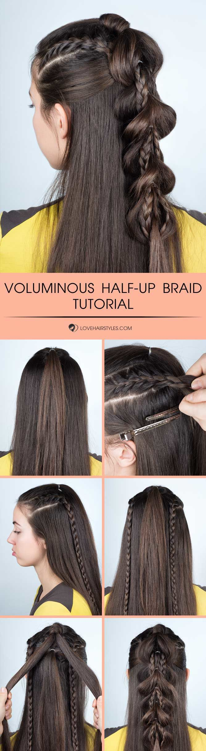 Voluminous Half Up Braid #braids #hairtutorial