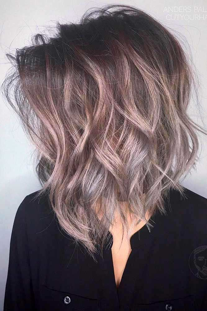 Side Parted Layered Lob #bobhaircut #haircuts