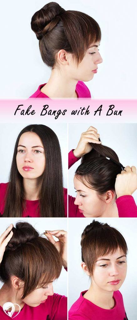 Fake Bangs With A Bun Method #fakebangs #bangs