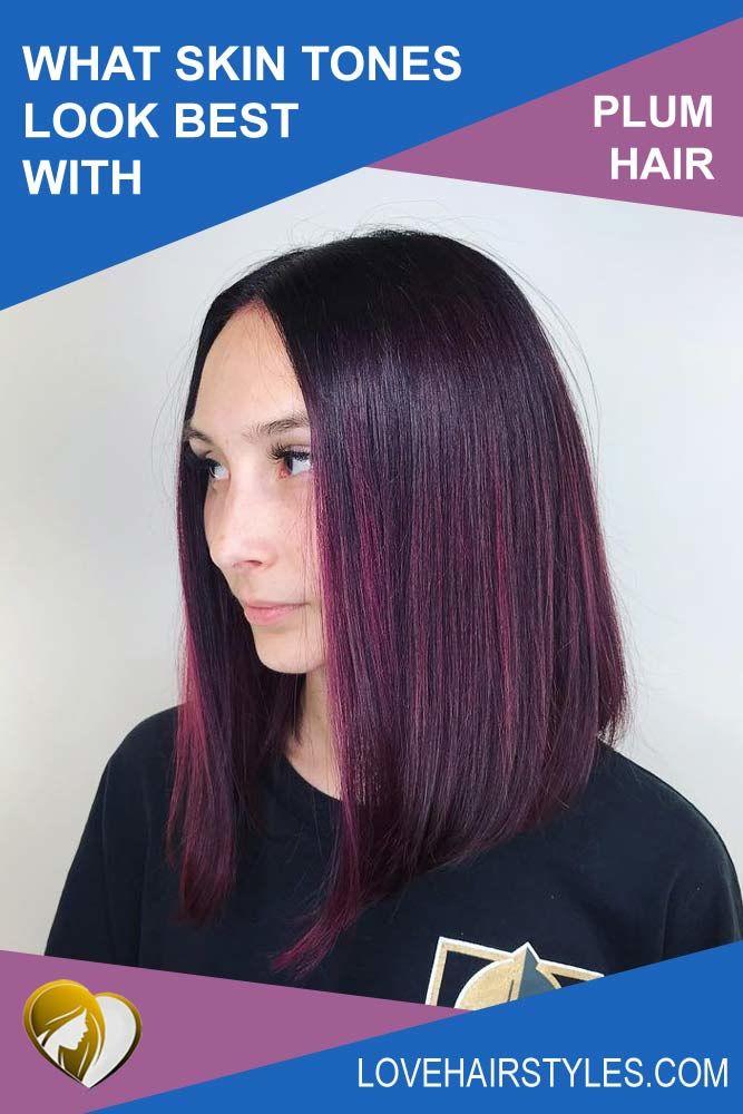 What skin tone suits plum hair? #plumhaircolor #plumhair