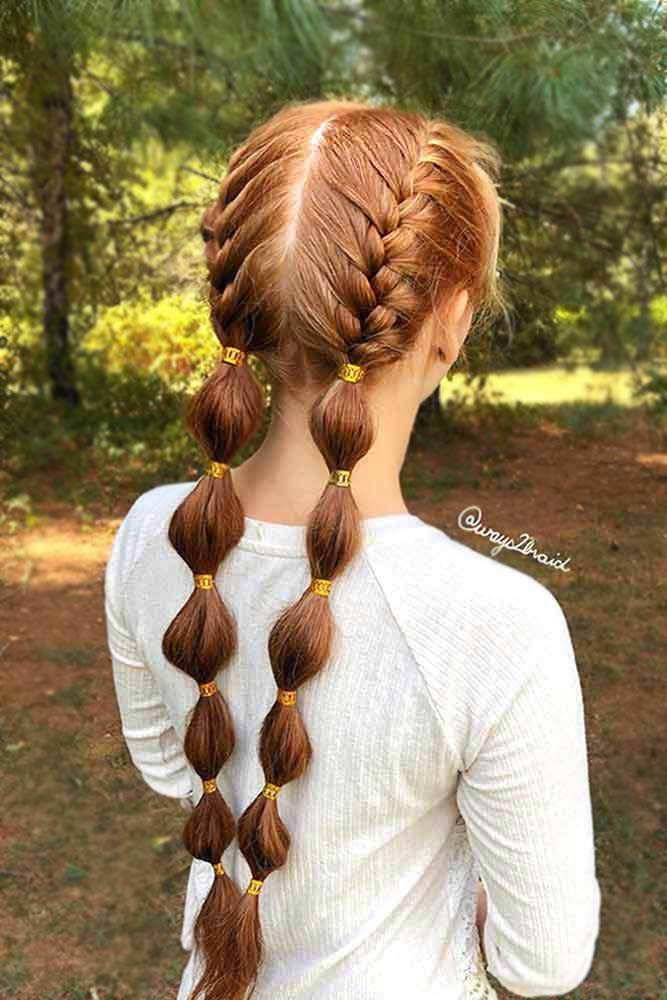 Bubble Braided Pigtails Red Hair