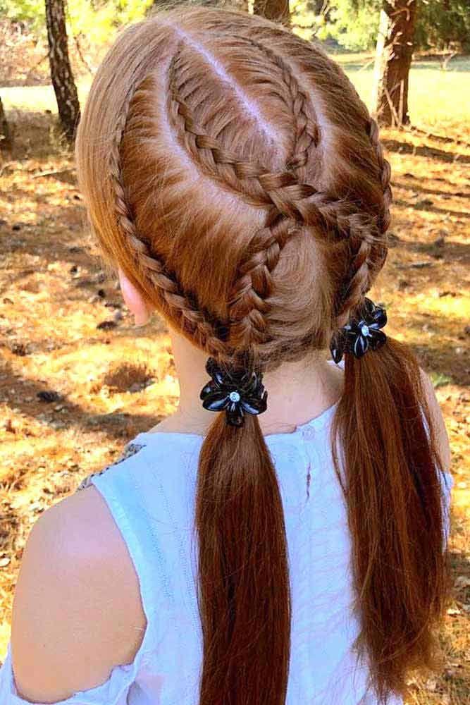 Ponytails braids Long Hair