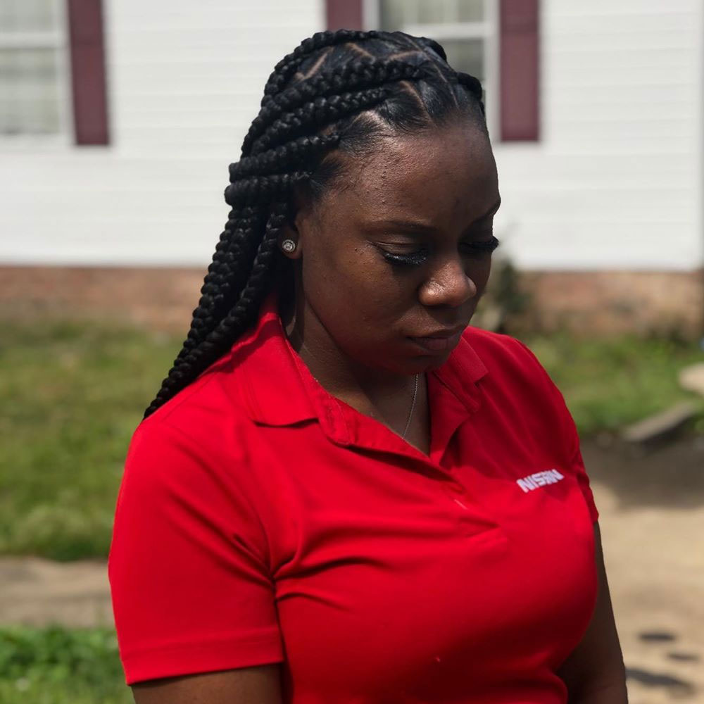 Half Updo Look With New Type Of Box Braids