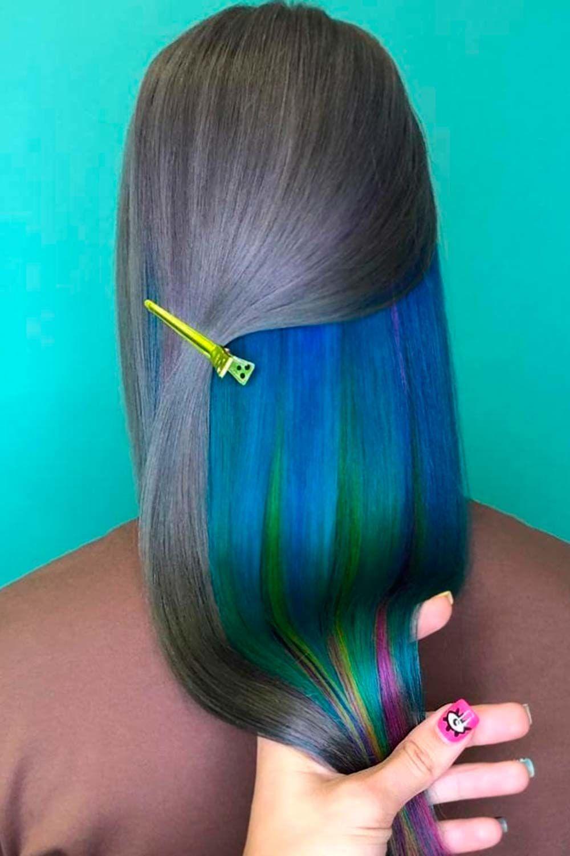 Blue Peekaboo for Grey Hair