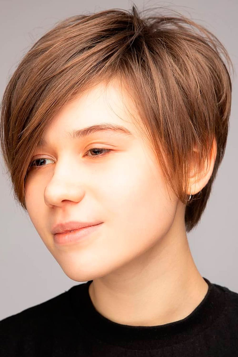 Long Asymmetrical Pixie For Straight Hair With Side Bangs