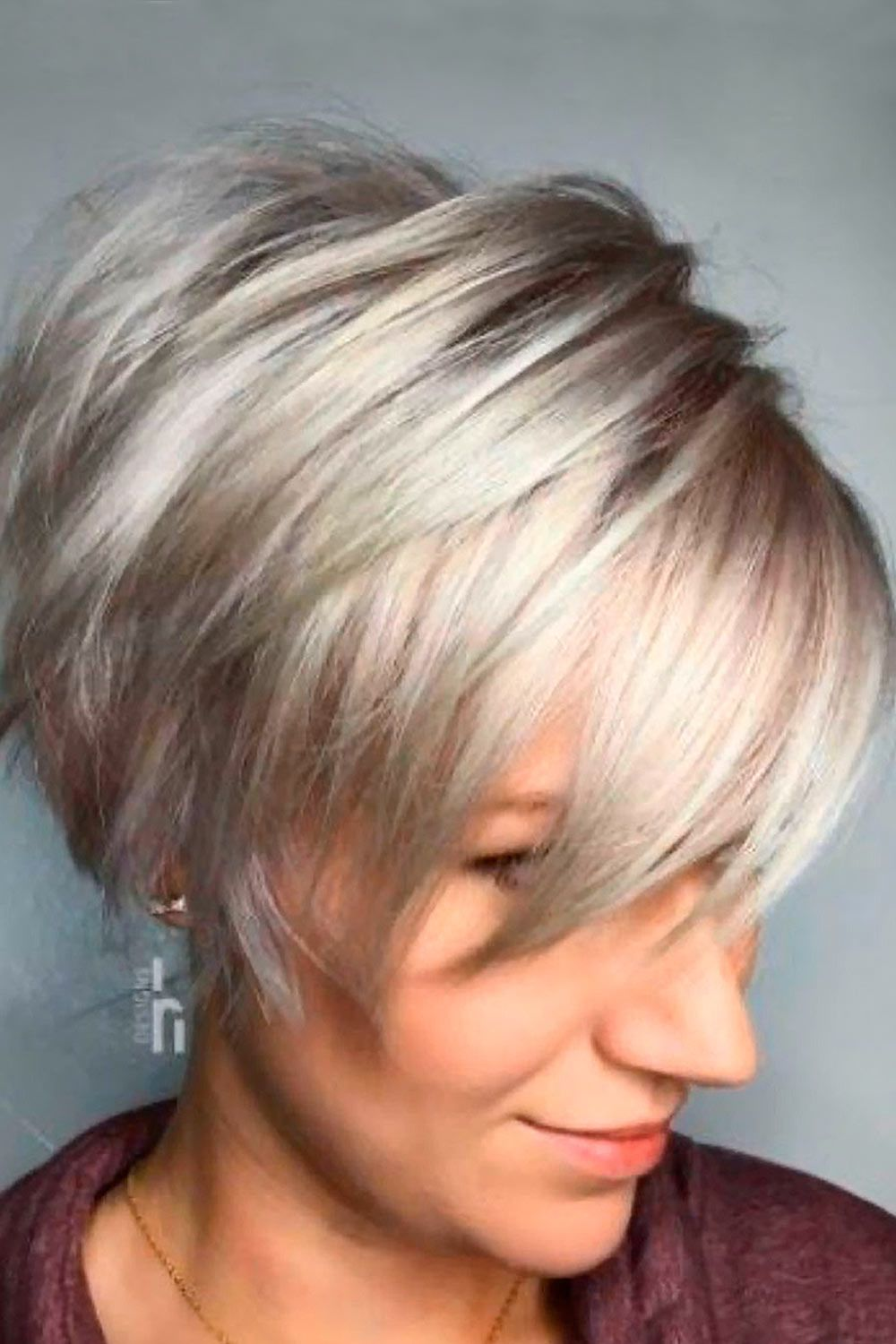 Silver Layered Straight Pixie