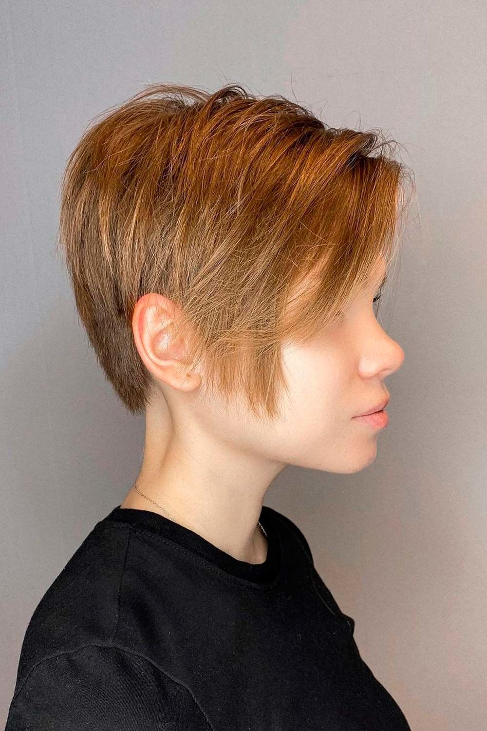 Straight Asymmetrical Pixie With Textured Layers