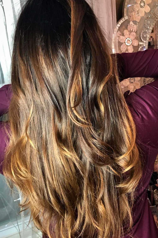 Natural Dark Brown Hair With Highlights