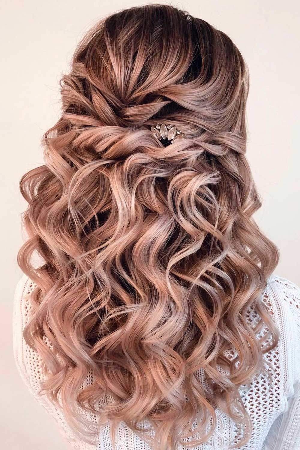 Half Up Long Curly Style For Formal Hair