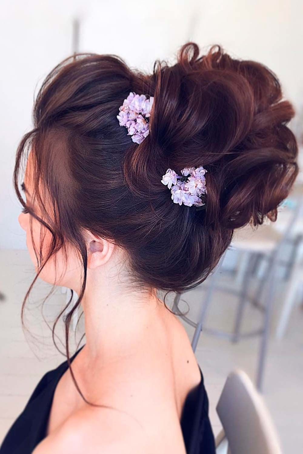 Updo Hairstyles with Flowers For Long Hair