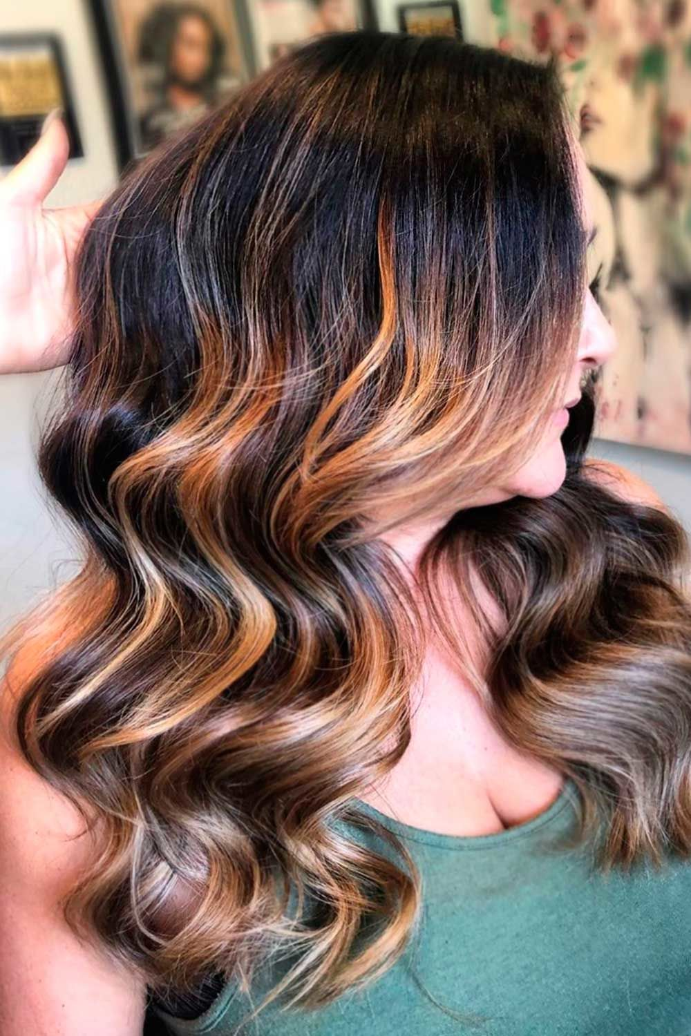 Gold Ombre On Dark Brown Base